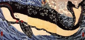 Vintage Japanese poster - Samurai attacking whale
